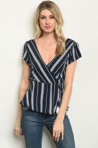 S9-16-3-T51689 NAVY STRIPES TOP 2-1-2