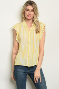 S7-2-4-T32430 YELLOW STRIPES TOP 2-2-2