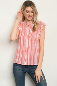 S15-7-4-T32430 CORAL STRIPES TOP 2-2-2