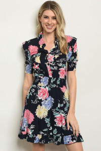 S7-2-4-D59502 NAVY WITH FLOWER PRINT DRESS 2-2-2