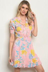 S7-2-4-D59502 PINK WITH FLOWER PRINT DRESS 2-2-2