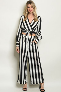 SA3-4-1-SET13941 BLACK WITH STRIPES TOP & PANTS SET 3-2-1