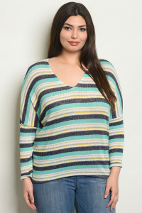 C65-B-3-T9747X MINT STRIPES PLUS SIZE TOP 2-2-2