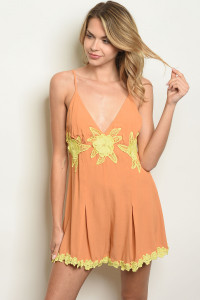 S23-12-6-R1179 TAN YELLOW ROMPER 3-2-1