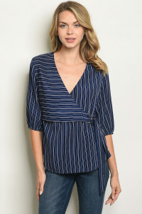S8-5-4-T3087 NAVY STRIPES TOP 3-2-1