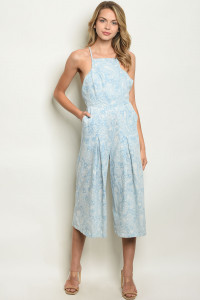 S22-6-4-J1177 BLUE WITH PAISLEY PRINT JUMPSUIT 3-2-1