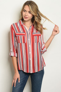 S21-9-3-T10102 RED STRIPES TOP 1-1-2