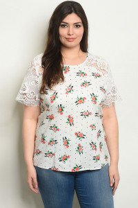 S20-11-3-T59403X OFF WHITE FLORAL PLUS SIZE TOP 2-2-2
