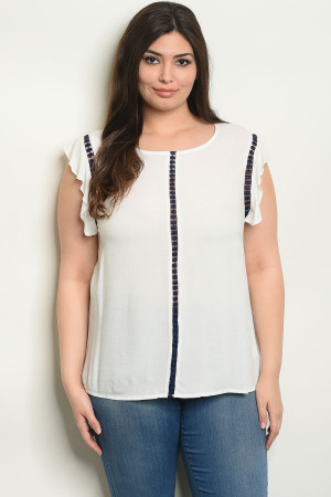 S19-10-3-T25625X OFF WHITE NAVY PLUS SIZE TOP 2-2-2