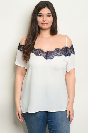S13-12-3-T38718X OFF WHITE NAVY PLUS SIZE TOP 2-2-2