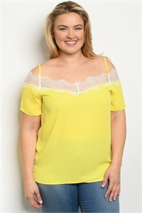 S13-12-2-T38718X YELLOW PLUS SIZE TOP 2-2-2