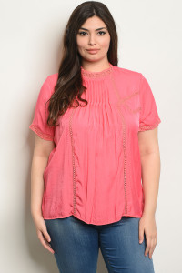 S23-13-5-T51663X CORAL PLUS SIZE TOP 2-2-2