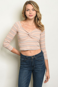 S11-17-5-T4405 PEACH STRIPES TOP 3-2-1