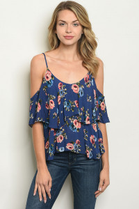 S14-9-6-T4248 NAVY FLORAL TOP 3-2-1