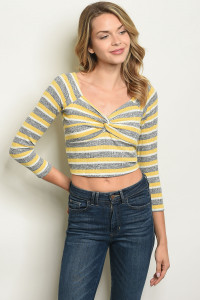 S18-5-4-R1052 YELLOW STRIPES TOP 3-2-1