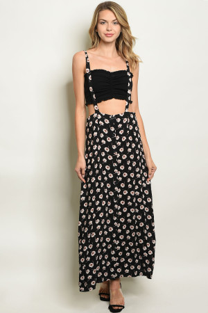 S18-6-3-S816 BLACK WITH FLOWER PRINT SKIRT 3-2-1
