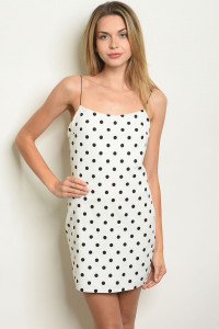 S19-5-1-D24311 WHITE BLACK WITH DOTS DRESS 2-2-2