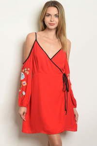 S23-2-1-NA-D24245 RED WITH FLOWER EMBROIDERY DRESS 2-2-2