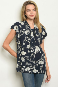 S13-4-3-NA-T56057 NAVY FLORAL TOP 3-2-1