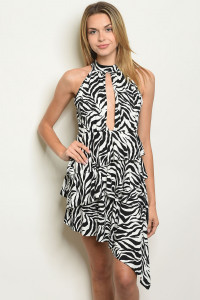 C101-A-3-D7501 WHITE BLACK ANIMAL PRINT DRESS 2-2-2