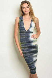 C85-A-2-D7559 LIME NAVY TIE DYE DRESS 2-2-2
