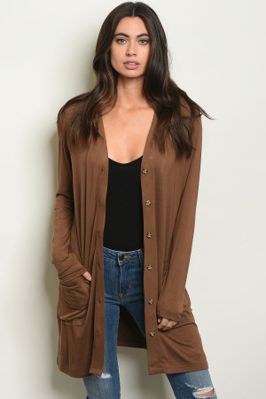 S4-7-2-C1044 BROWN CARDIGAN 1-2-2-1