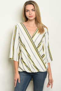 C51-A-3-T505621 IVORY STRIPES TOP 2-2-2