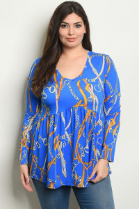 C35-B-2-T741X ROYAL PRINT PLUS SIZE TOP 2-2-2