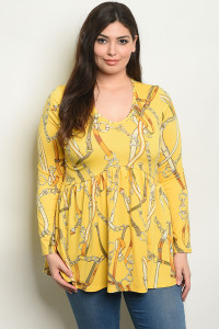 C35-B-3-T741X YELLOW PRINT PLUS SIZE TOP 2-2-2
