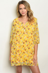 S23-11-3-D12153 YELLOW FLORAL DRESS 2-2-2