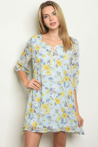 S23-9-6-D12153 LIGHT BLUE FLORAL DRESS 2-2-2