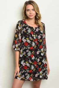 S25-7-3-D12153 BLACK WITH FLOWER PRINT DRESS 4-2-2