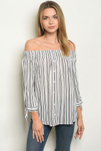 S23-9-5-T12136 WHITE BLACK STRIPES TOP 2-2-2