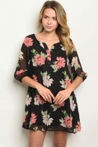 S20-9-1-D12153 BLACK PEACH FLORAL DRESS 2-2-2
