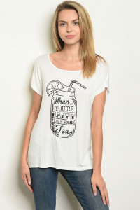 "C81-B-5-T5454 IVORY ""WHENEVER YOU'RE HAPPY"" PRINT TOP 2-2-2"