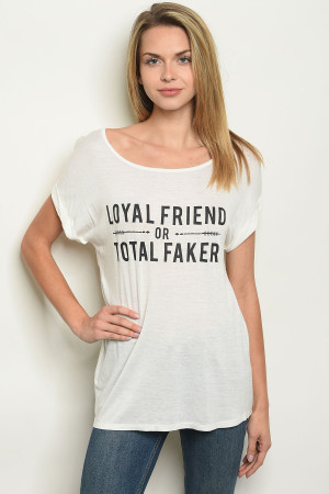 "C76-B-2-T5454 IVORY ""LOYAL FRIEND"" PRINT TOP 2-2-2"