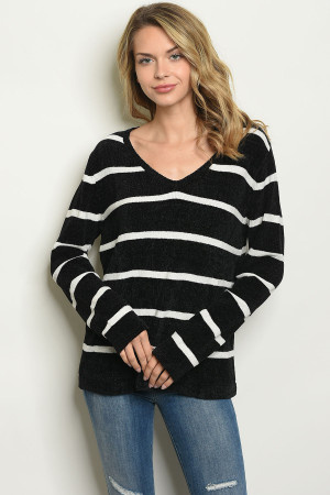 S146-2-S2637 BLACK WHITE STRIPES SWEATER 3-2-1