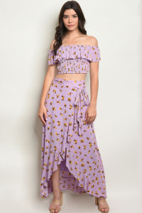 S14-2-1-SET3334 LAVENDER WITH FLOWER PRINT TOP & SKIRT SET 1-1-2-2-1