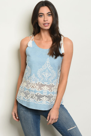 S9-19-1-T1199 LIGHT BLUE DENIM EMBROIDERY TOP 2-3-2