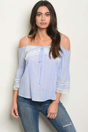 S21-12-5-T1129 BLUE STRIPES TOP 2-2-2