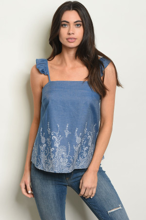 C26-B-4-T10534 BLUE DENIM TOP 2-2-2