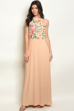 S10-10-4-D8312 BEIGE EMBROIDERY DRESS 2-2-2