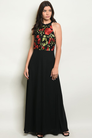 S14-3-4-D8312 BLACK EMBROIDERY DRESS 2-2-2