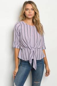 S13-7-1-T4249 LAVENDER STRIPES TOP 2-2-2
