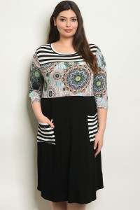 C75-A-3-D1084X BLACK MINT PLUS SIZE DRESS 2-2-2