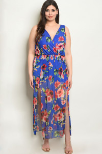 C25-A-2-D94482X ROYAL FLORAL PLUS SIZE DRESS 2-2-2