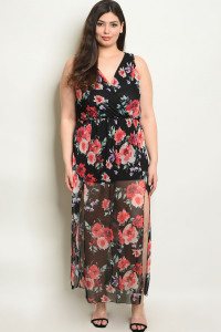 C23-A-4-D94482X BLACK FLORAL PLUS SIZE DRESS 2-2-2