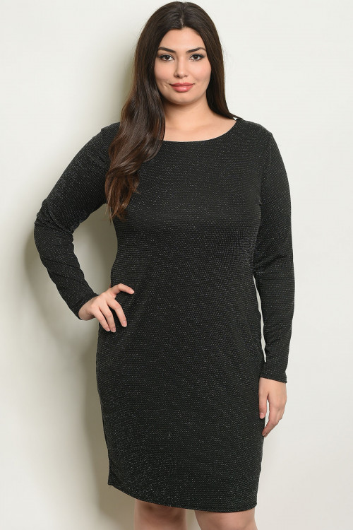 C17-A-3-D0758X BLACK SILVER PLUS SIZE DRESS 2-2-2