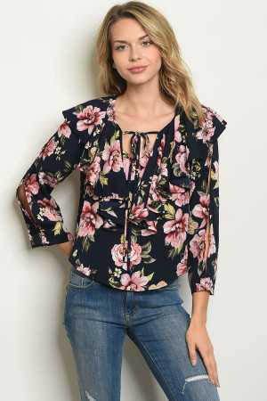 S14-10-5-T53167 NAVY FLORAL TOP 2-2-2