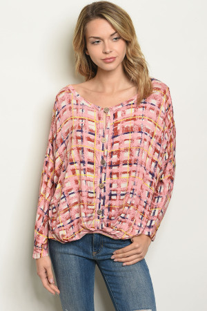 S21-8-4-T2549 BLUSH CHECKERED TOP 2-2-2